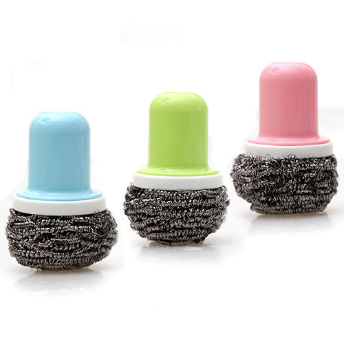 Stainless Steel Wire Ball Scourer Scrubber Brush for Pot Pan Wok Cleaning H0005163-5(China (Mainland))