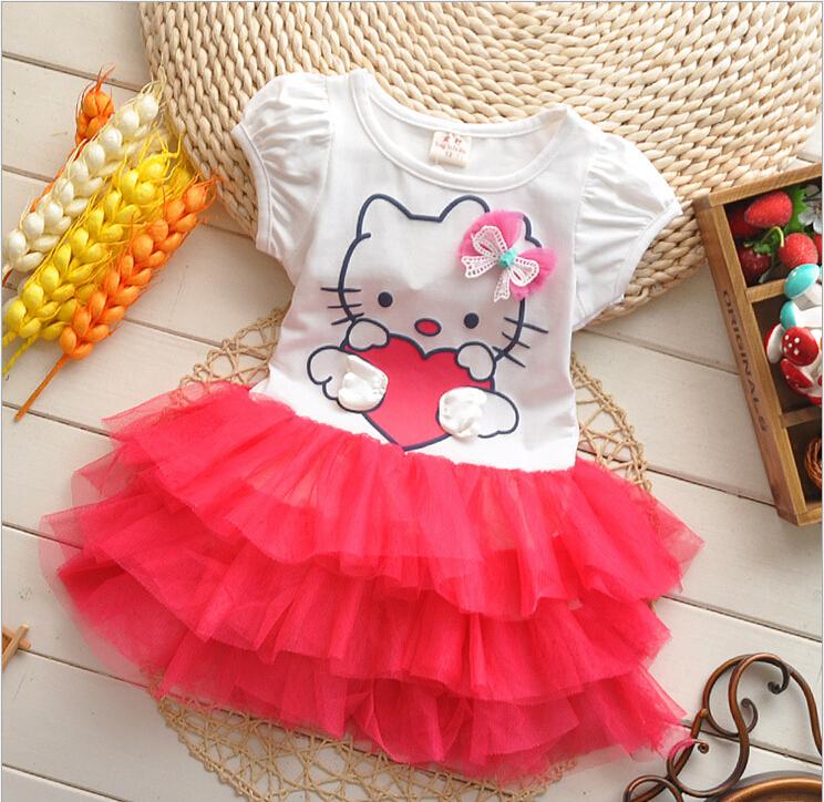 2015 New summer Baby Girls Dress Clothing Children lace short sleeve hello kitty dresses girls princess dresses(China (Mainland))