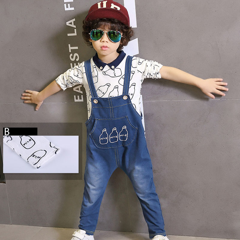 2016 Spring Baby Girls Clothing Set Children Denim Overalls Jeans Pant+Blouse Vetement Enfant Fille Garcon Kids Boys Clothes Set