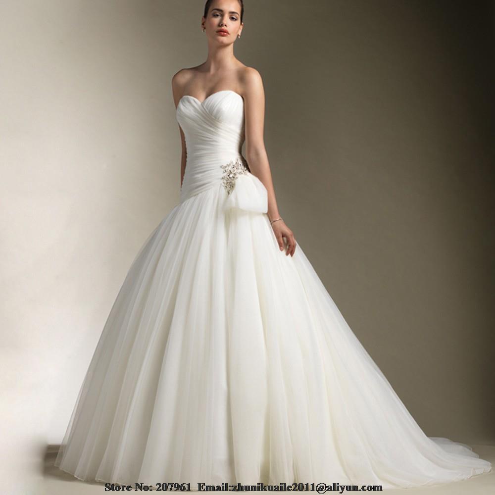Халат де mariage A-Line Свадебные Платья 2016 Милая Органзы старинные свадебные платья Суд Поезд с бисером vestidos de noiva