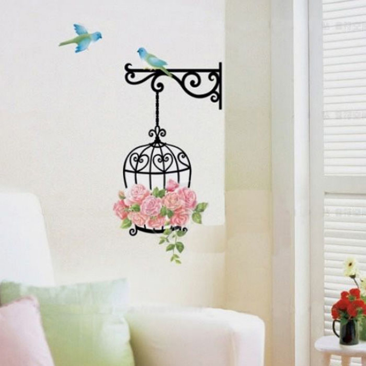 Delicate New Fashion birdcage Wall Sticker Home Decor Vinyl Removeable Mural Decal with birds Hot Selling(China (Mainland))