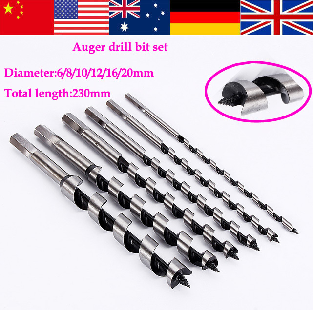 High Quality 6pcs/Set Drill Bit Wood Wooden Hole Cutter Boring Auger Woodworking Bits 6-20mm(China (Mainland))