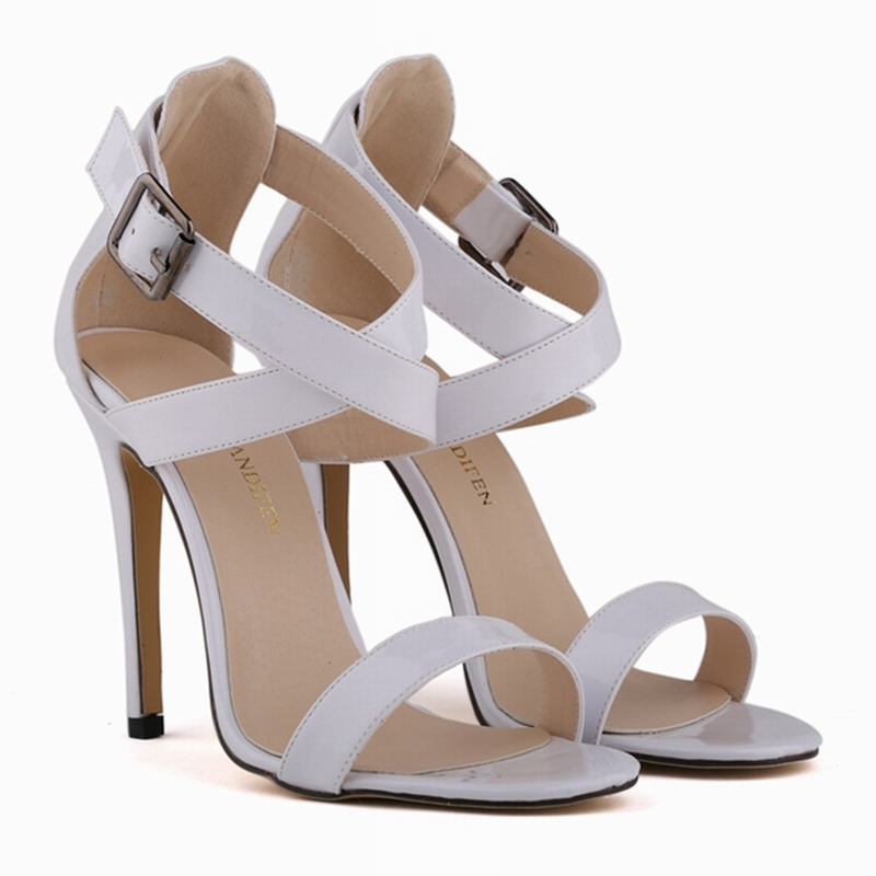 2016 Brand New Summer Women Open toe Buckle Sandals Thin High Heel Fashion Black/Red Cut-out Big Size 35-42