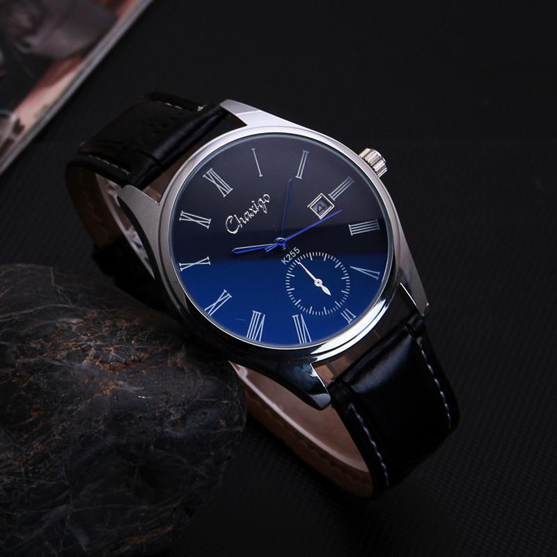Japan Core Luxury Blue Ray Genuine Leather Dress Business Quartz Watch Wristwatches for Men Male Women /w Calendar Black Brown(China (Mainland))