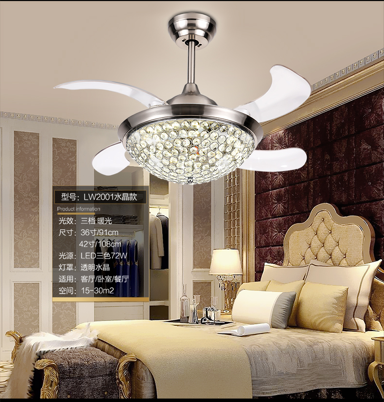 Invisible Crystal Chandelier Fan Light Dining Room Fan Light Chandelier Livin
