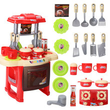 2016 Hot Selling Children Kitchen Toys For Girls Cooking Toys Kids Pretend Play Toys With with Light Sound Effect Playing Toys(China (Mainland))