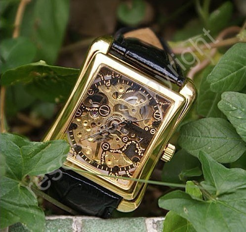 Luxury Style Men golden skeleton automatic mechanical watches square dial stainless steel watch case hand winding leather strap