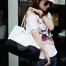New Arrival Color Splicing Synthetic Leather Handbag women storage bag Designer Satchel Shoulder Purse Tote Bag(China (Mainland))