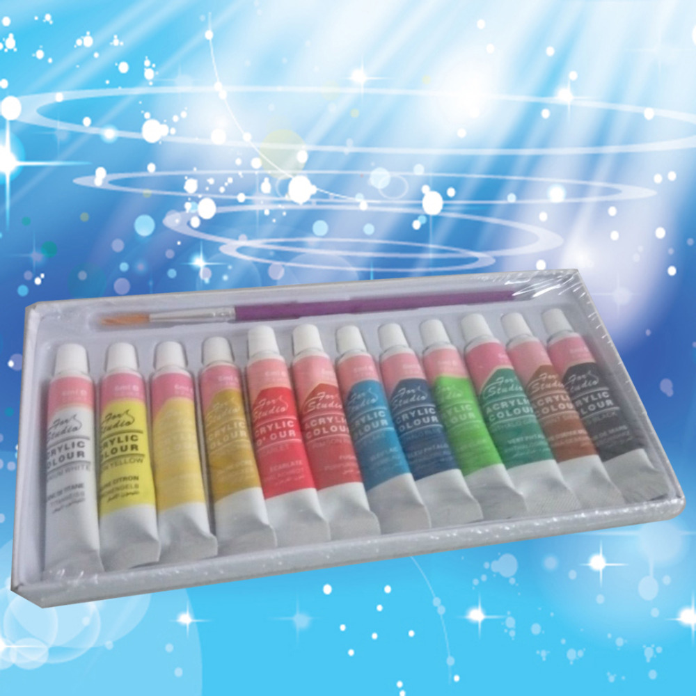 12 Colors Professional Acrylic Paints Set Hand Painted Wall Painting Textile Paint Brightly Colored Art Supplies High Quality(China (Mainland))