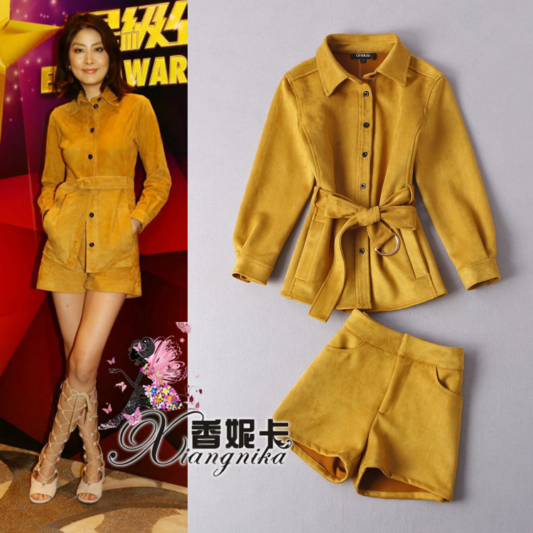 2015 winter turn down collar suede fabric outerwear with shorts casual set female