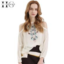 HEEGRAND Off Shoulders Summer Fashion Vintage Women Shirts Blusas 2016 Full Sleeve O-Neck Geometric Blouse LCL1217(China (Mainland))