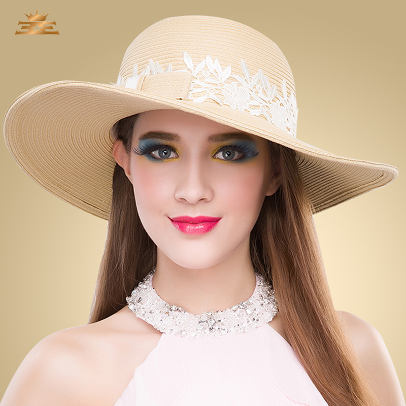 Straw hat female fashion 2015 millinery anti uv large brim ...