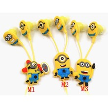 NEW Top cartoon in-ear wired 3.5mm earphone headphone Despicable Me Minions model headset for MP3 MP4 cell phone E01