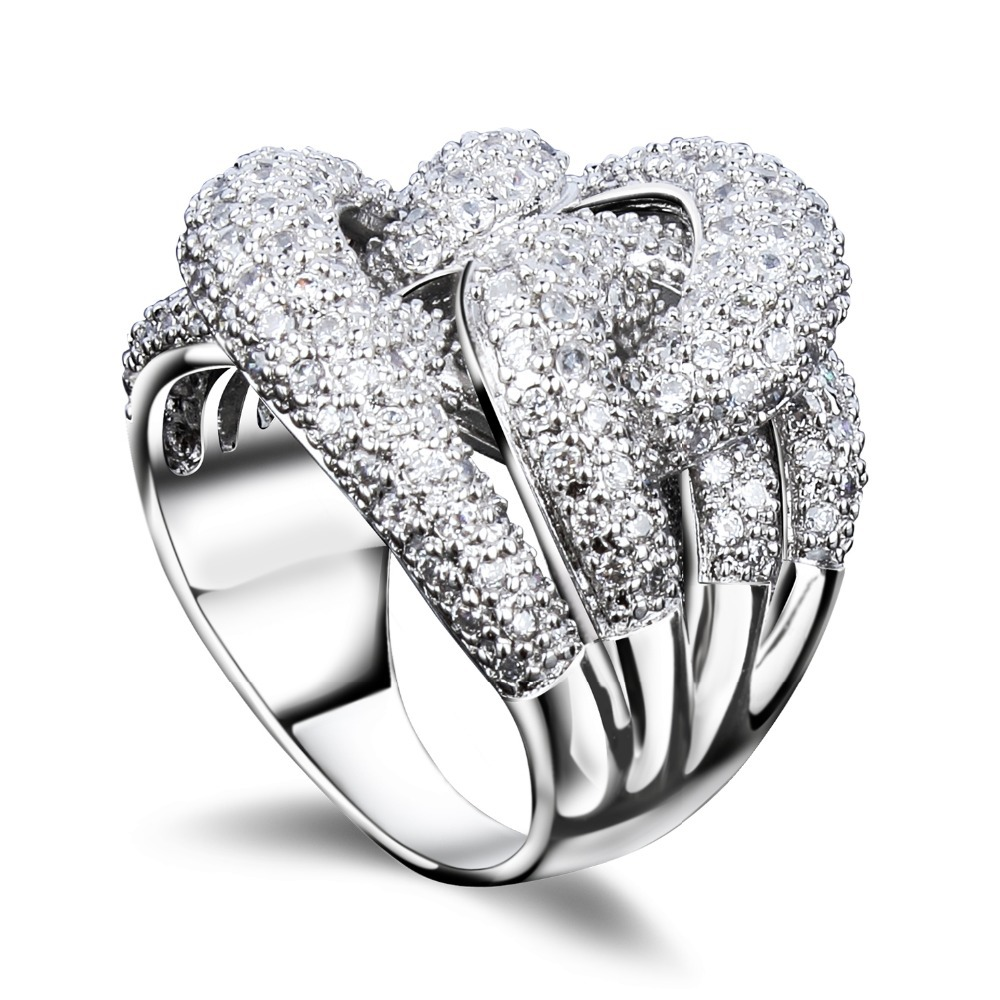 Fashion Secret Platinum Plated Women Cocktail Rings Cubic Zircon Micro Pave Setting Custom Jewerlley Lead Free Shipping(China (Mainland))