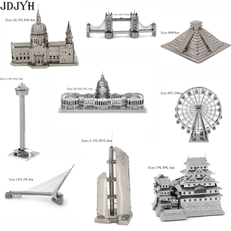 World famous building children puzzle 3D Metal Puzzles DIY Metal Puzzle adult models educational toy gift for kids birthday gift(China (Mainland))