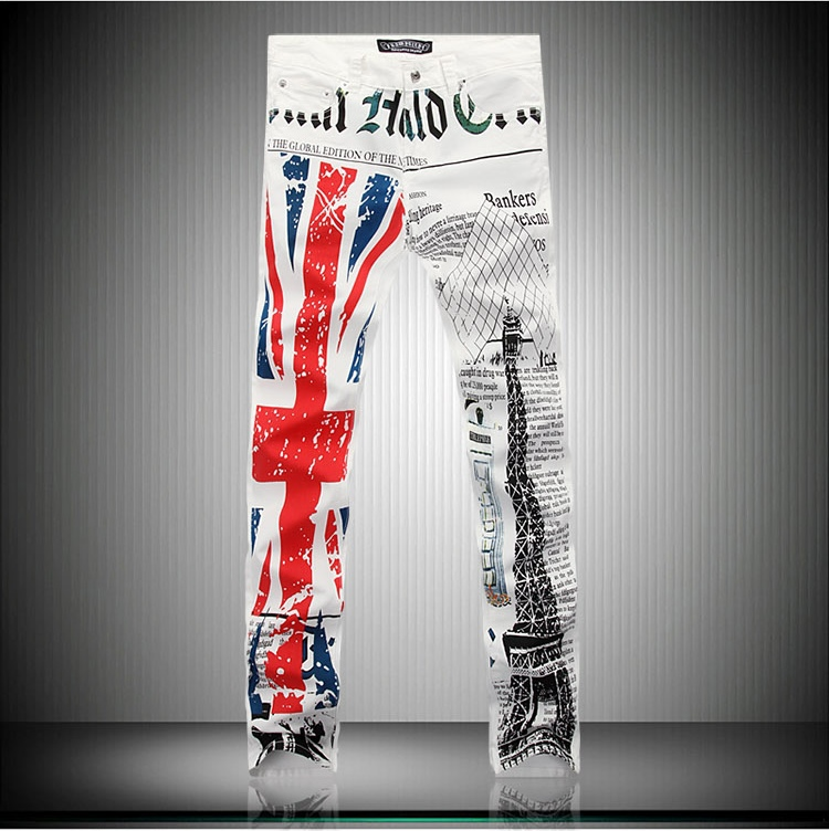2015 new College style Union Jack printed Dyed jeans men brand casual slim washed denim printing men,large size 28-42 - xin hui's store