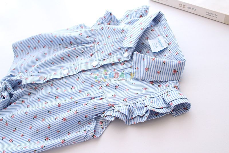2016 Hot New Summer Baby Girl Blouses Kids Stripe Shirts Fantasy Children Shirt Casual Floral Cotton Clothing Child Clothes Wear