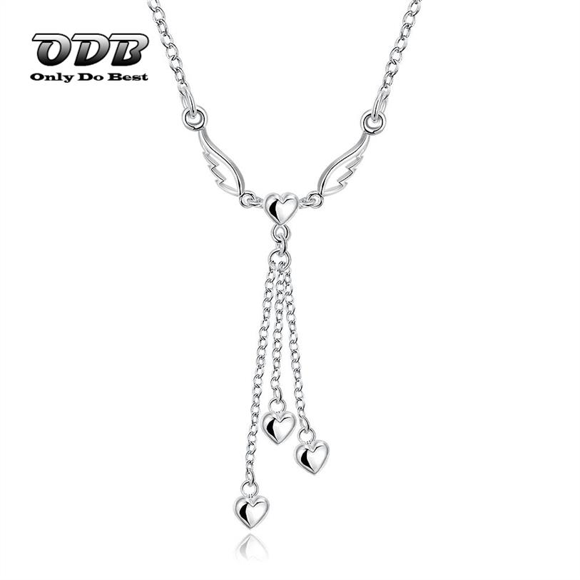 Women Pendant Necklace Angle Wing With Tassel Heart Silver Plated Cheap Fashion Jewelry Necklace & Pendant for Women 9SN728(China (Mainland))