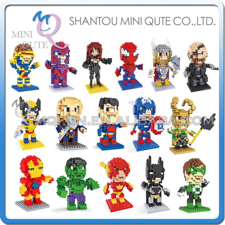 16pcs/lot Mini Qute HSANHE 18 styles movable hands Marvel Avenger Spiderman Super hero plastic building block educational toy<br><br>Aliexpress
