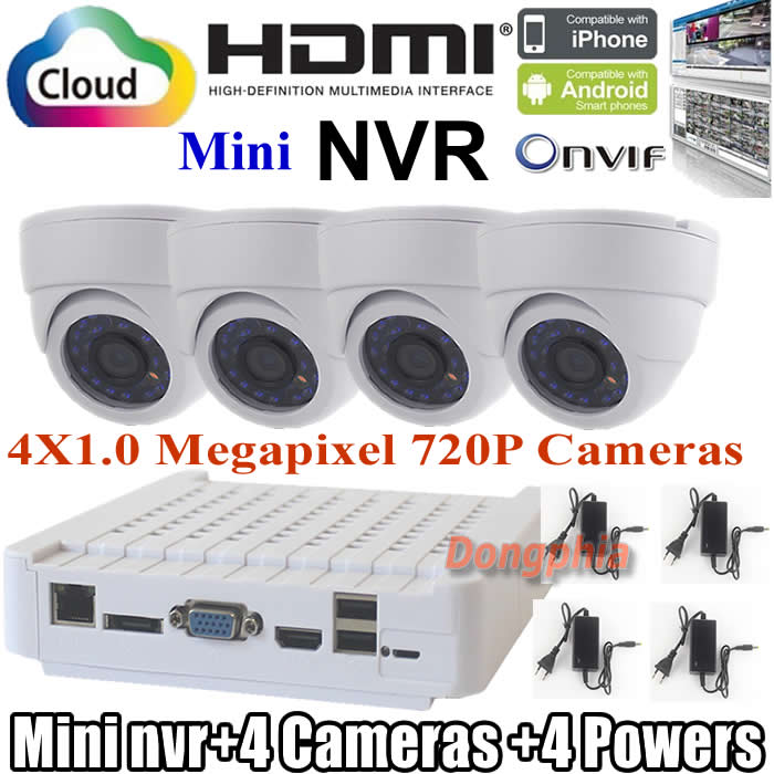 4ch network cctv system mini ONVIF NVR 4CH 1080P NVR KIT Support power to Camera Plug and Play 4pcs onvif indoor Dome ip camera<br><br>Aliexpress