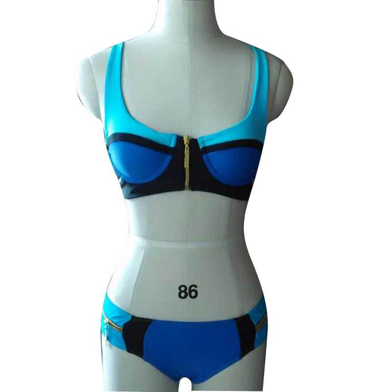2016 hot sale brand Explosion Sexy split gold zipper Bikini Fashion temptation sexy swimsuits women