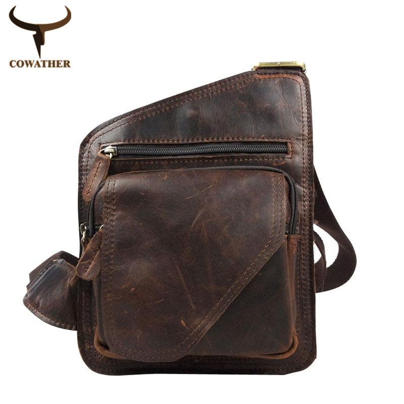 2016 100% top cow genuine leather versatile casual shoulder men messenger bags for men soild and zipper