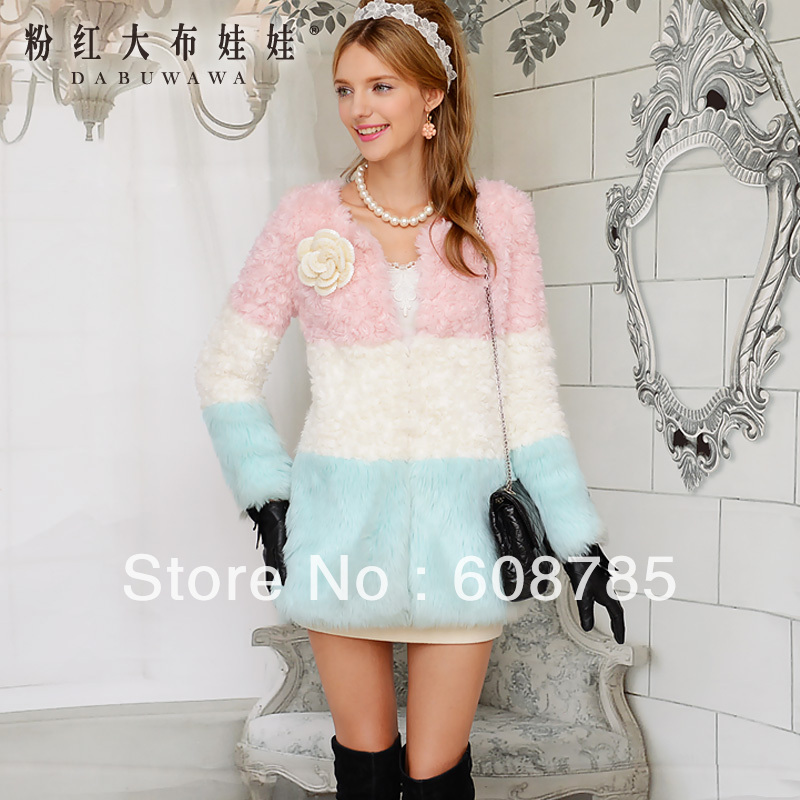 2013 Autumn Womens Fur Coats Jacket Outerwear Sweet Candy Color Faux Fur Coat Women Artificial Fur Winter Coat Free ship B1420Одежда и ак�е��уары<br><br><br>Aliexpress