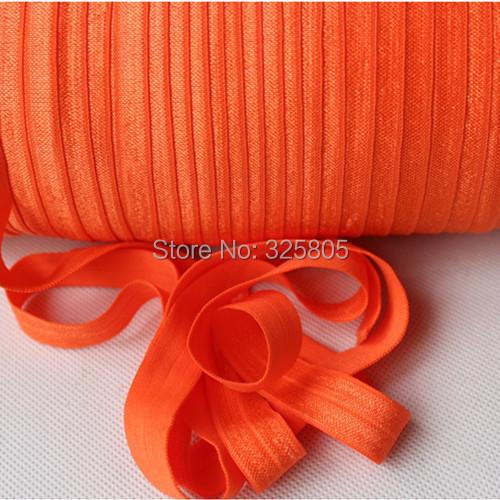 2014 New Arrival 761autumn orange 5 8 16mm FOE elastic solid Fold Over Elastic 50yards lot