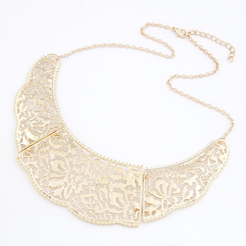Fashion Punk Pierced Flower Statement Collar Necklaces Torque Gold Chain Maxi Colares Femininos For Women Mujer