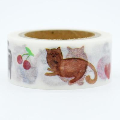 1Roll=20mmx7m High Quality Cat Pattern Japanese Washi Decorative Adhesive Tape DIY Masking Paper Tape Label Sticker wholesale<br><br>Aliexpress