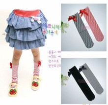 Baby Leg Arm Warmers Bowknot cotton striped socks 1 8 years age children grey