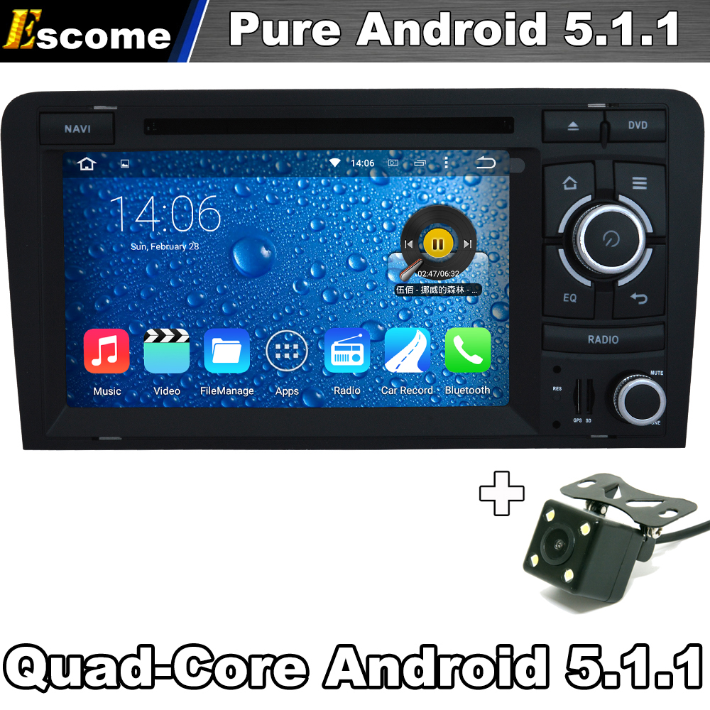 Pure Android 5.1 Car DVD Player For Audi S3 Audi RS3 AUDI A3 2003 2004 2005 206 2007 2008 2009 2010 2011 with Rear View Camera(China (Mainland))