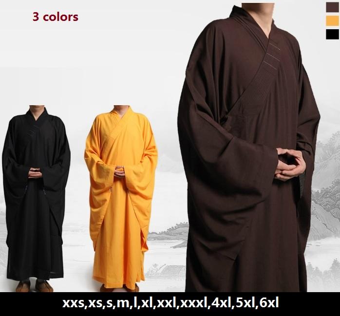 Free shipping Shaolin Temple Zen Buddhist Robe, Unisex High Quality shaolin Kung fu monk uniform martial arts monks robes(China (Mainland))