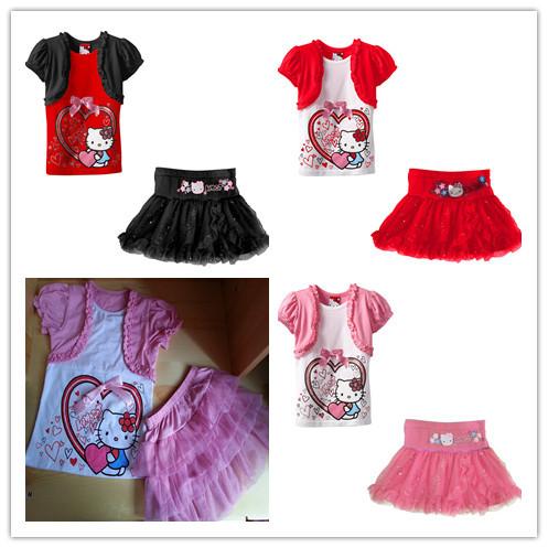 2013 new Baby girls Fake two-piece hello kitty T-shirt + Skirts suit Children girl KIMOCAT top skirt sets 5set/lot