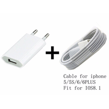 For Iphone 6 plus 5/5s/5c Power Chargers Adapter & USB Charging Charger Cable (White) Free For Mobile phone accessories