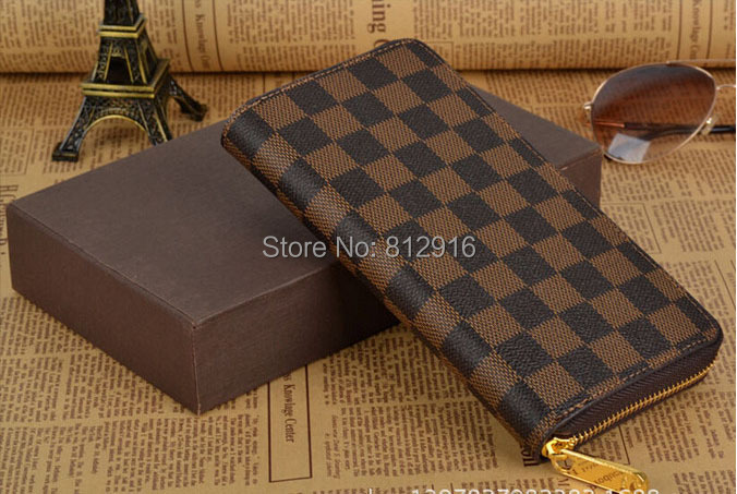 women cowhide leather wallet Large Zip bill clip bags 2015 new fashion British style checkered leather Purses Free Shipping(China (Mainland))