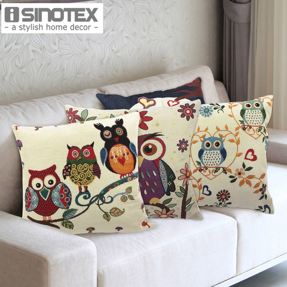 Owl Printed Cushion Home Decor 43x43cm/17x17'' Linen&Polyester Decorative 1Pcs/lot(China (Mainland))