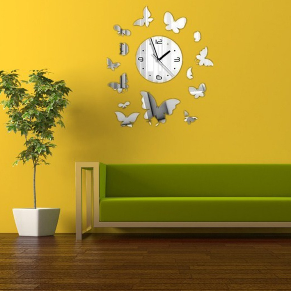 2015 New Sale 3d Modern Mirror Wall Clock Sticker Creative Home Decor Still Life Horse Butterfly Free Shipping