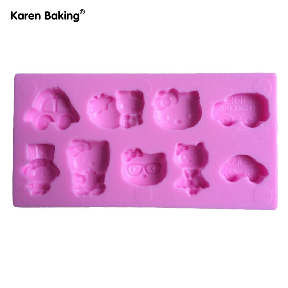 Cute Cat And Cars Fondant Cake Molds Soap Chocolate Mould For The Kitchen Baking C334(China (Mainland))