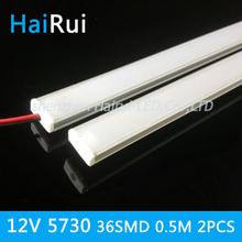 2015 New 2pcsx50CM 5730 rigid strip LED Bar Light 36LEDs Kitchen led light LED DC 12V LED Hard LED Strip with U falt cover(China (Mainland))
