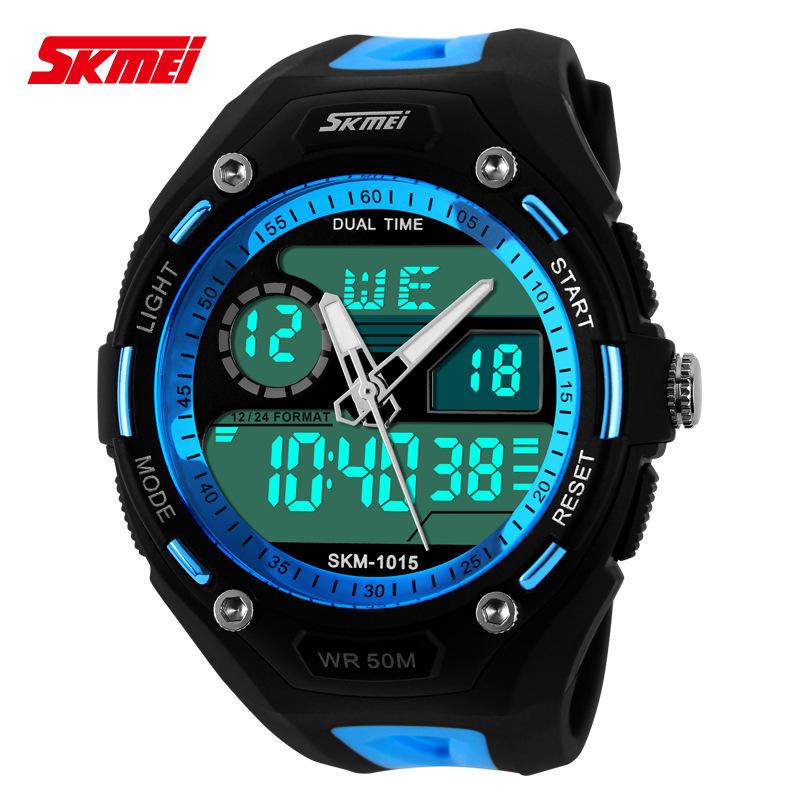 SKMEI Free ship mens military watch sports watches 2 time zone digital quartz Chronograph jelly silicone swim dive watch(China (Mainland))