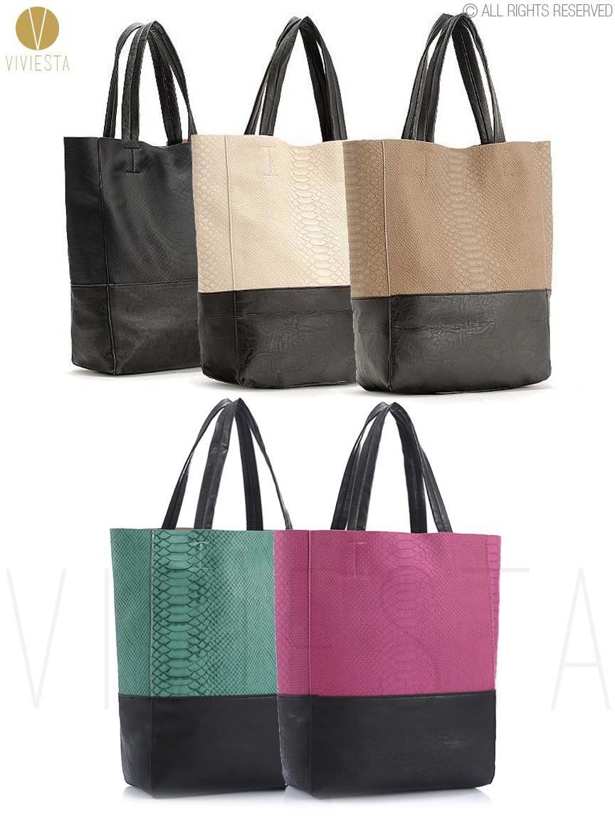 Двухцветная большой cabas tote - женщин вертикальные pu кожезаменитель Верхняя ручка a4 Размер покупателя покупки сумка сумочка Болса