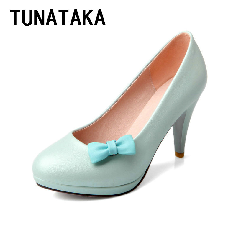 Blue Pink White high heels women cute bow shoes fashion thick heel party wedding shoes <br><br>Aliexpress