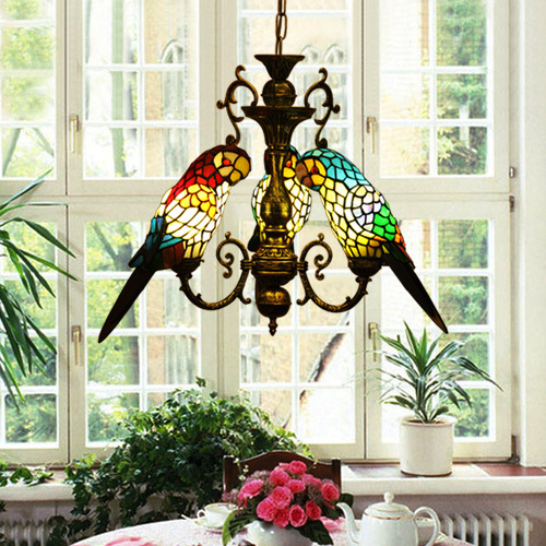 Vintage Tiffany Style Stained Glass Tri Parrots Chandelier Hanging Lamp-inPen...
