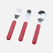 3 Piece Stainless Steel Baby Cutlery Set Portable Knife Spoon Fork Flatware Set for Children(China (Mainland))