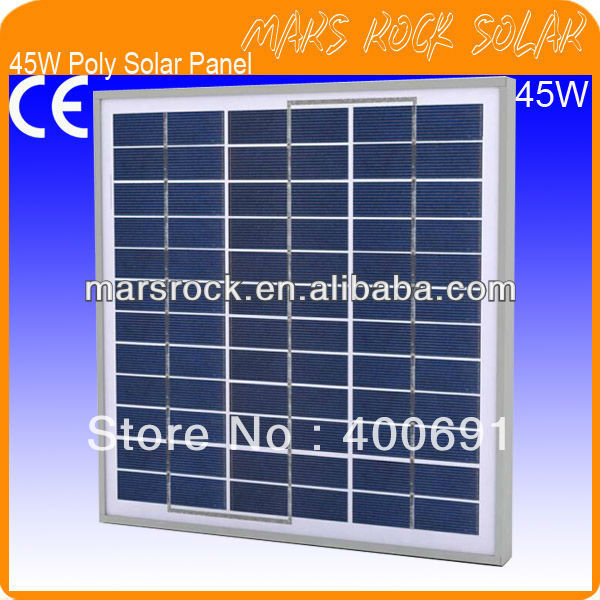 45W 18V Poly Solar Panel Module with 36 A Grade Poly Cells, Nice Appearance, IP65 Waterproof, 80% Power Warranty within 25 years<br><br>Aliexpress