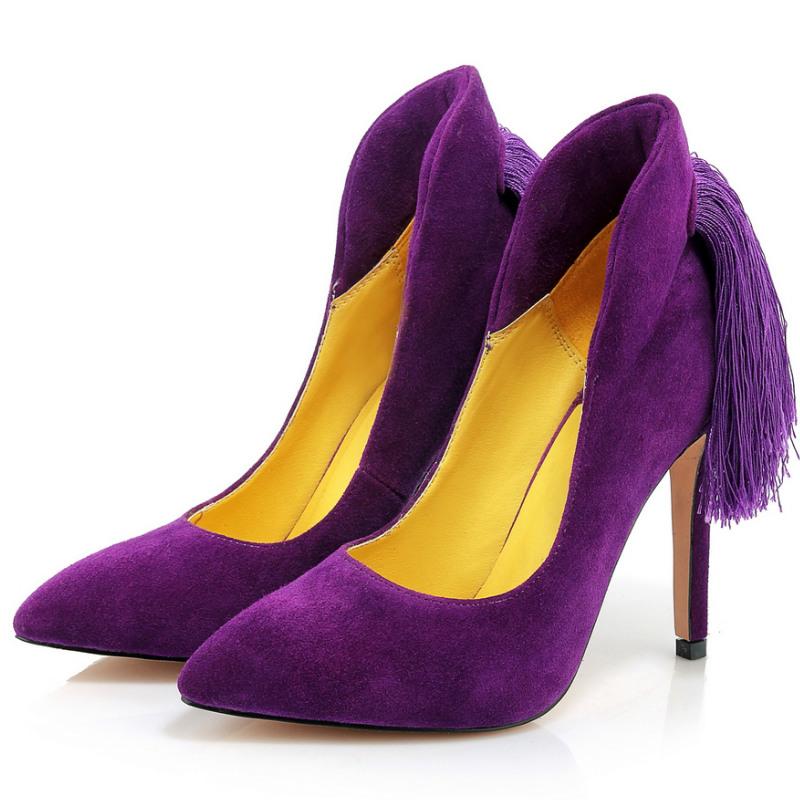 high quality sheepskin genuine leather 10 cm thin high heels single shoes women 2016 tassel heels fashion ladies working pumps<br><br>Aliexpress