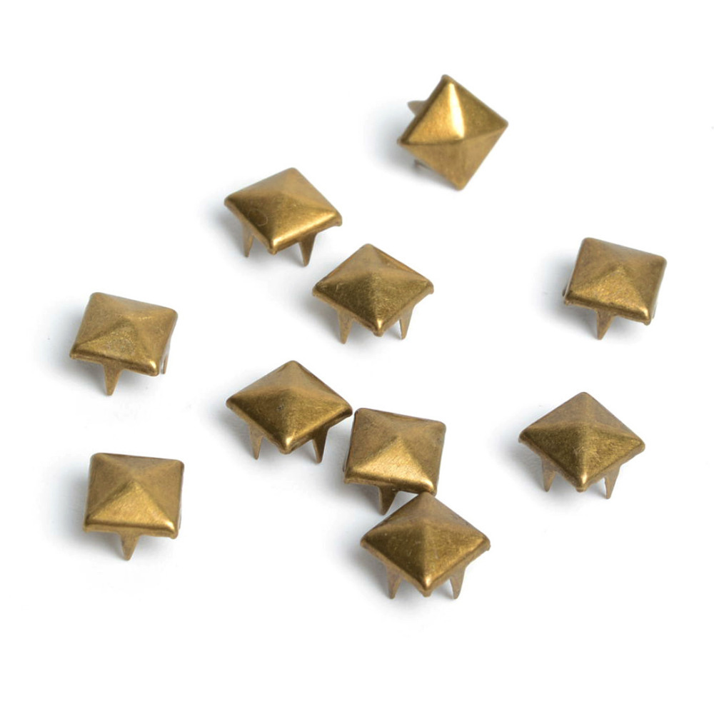 100pcs 8mm Brass Pyramid Studs Nailheads Rivet Spike Punk Bag Leather Craft Bracelets Clothes Garment Rivet Apparel Sewing(China (Mainland))