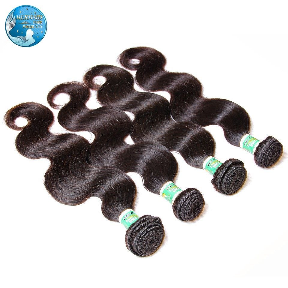 7A unprocessed  brazilian virgin hair body wave 4 bundles  Pure color black 8-30inch 100g brazilian virgin body wave human hair