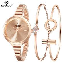 LIANDU Fashion Watch Women RoseGold Diamond Bracelet Watch Luxury Jewelry Ladies Female Girl Hour Casual Quartz Wristwatches set(China (Mainland))